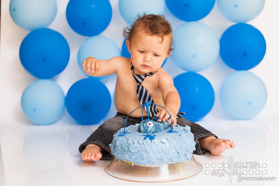 Cedar Rapids Cake Smash Photographer One Year Old Cake Smash