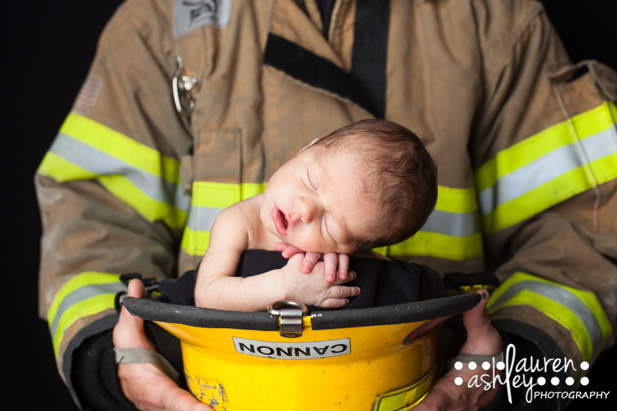 Newborn Boy In A Fireman's Hat | Newborn Baby Boy Photography