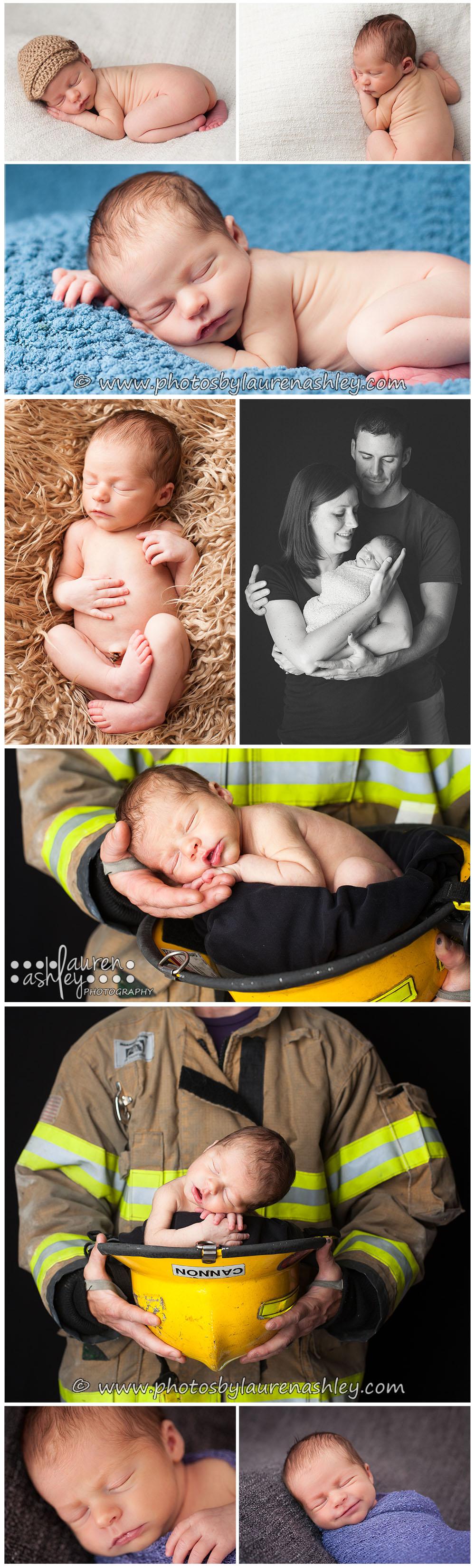 Baby boy posed in a fireman's hat. Cedar Rapids, IA Newborn Photographer